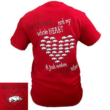New Arkansas Razorbacks Hogs Whole Heart Girlie Bright T Shirt