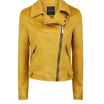 Mustard Suedette Biker Jacket | New Look