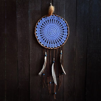 Dream catcher, crochet doily, wall decoration, blue, doily dreamcatcher, wall hanging, bedroom decor, blue moon, moonlight, fiber art, home