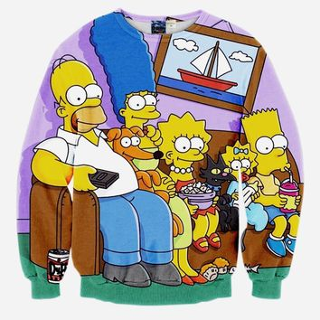 simpsons family printed sweatshirt 3D printed sweatshirts lover's hoodies free shipping