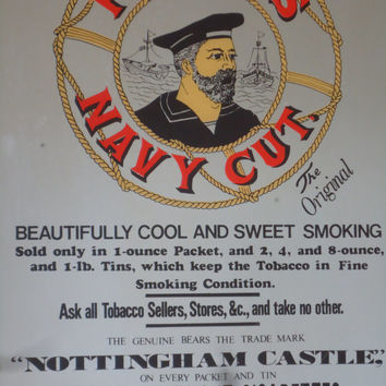 Vintage Players Navy Cut Smoke Cigarettes Mirror Sign Ad Nottingham Castle Tobacco