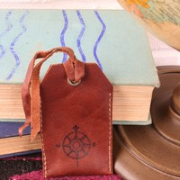 *Customizable* Compass Leather Luggage Tag