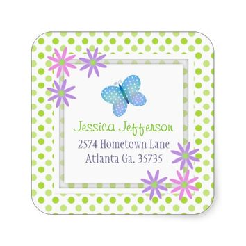 Daisies and Butterfly Address Stickers