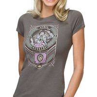 Joker Checker Sign Fitted Ladies' Tee - Charcoal,