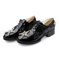 Lace Up Black Rhinestone Patent Leather Mid Heel Shoes