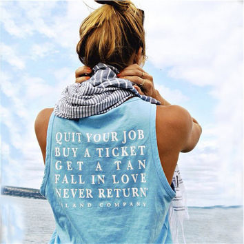 Sky Blue Letter Print Sleeveless T-Shirt