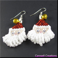 Santa Baby Christmas Beadwork Dangle Gold Bells Seed Bead Earrings