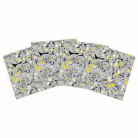 "Laura Nicholson ""Blackbirds On Gray"" Gray Yellow Indoor/Outdoor Place Mat (Set of 4)"