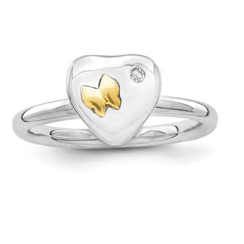 Sterling Silver & 14k Gold Butterfly Stackable Expressions Diamond Ring