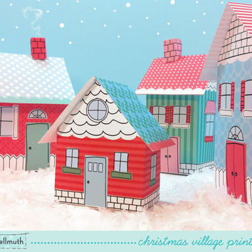 christmas village -  favor boxes, luminaries, party centerpiece decoration printable PDF kit - INSTANT download