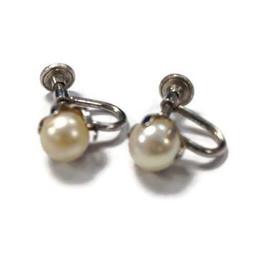 Vintage Earrings / Sterling Silver and Faux Pearl Screw Back Stud Earrings, Vintage Costume Jewelry