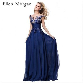 Royal Blue Corset Chiffon Evening Dresses 2017 Elegant Party Sheer Neck Long Sexy Red Carpet Formal Prom Gowns For Women Wear