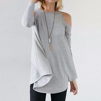Women Tops Autumn Ladies Sexy Tunic Off Shoulder Long Sleeve Pullover