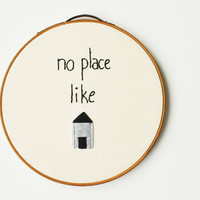 "PERSONALIZED ""No Place Like Home"" Handmade Embroidery Hoop Wall Art - Housewarming Gift"