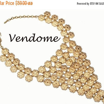 Vendome Gold  Bib Necklace with Flower Mesh