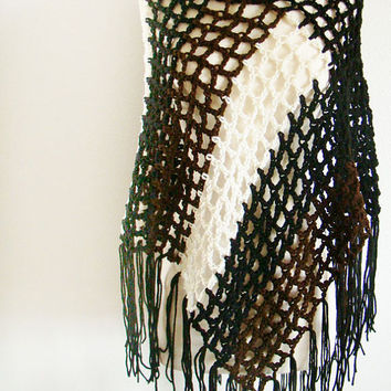 FREE SHIPPING - Crochet Summer Poncho, Capelet, Cape, Shawl, Wrap, Shrug, Shoulder Warmer - Black, Brown, White Front with Black Back