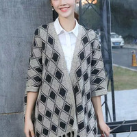 Knitted Argyle Pattern Batwing Sleeve Tassle Cardigan Sweater