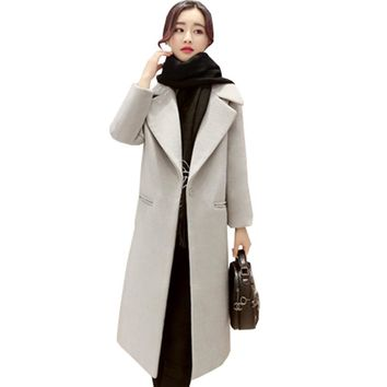 2017 Fashion Winter Coat Womens Wool Coat High Quality Pure Color Cocoon Coat Long sleeve High Lapels Keeping Warm Thick Coat