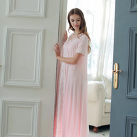 Free Shipping 2016 New Summer Princess Women's White and Pink Long Nightgown Modal Sleepwear  Vintage Pijamas roupao feminino