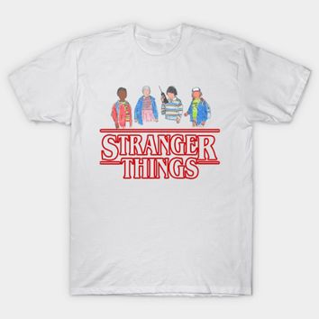 Stranger Things - The Gang (Lucas, Eleven, Mike, Dustin) Short Sleeve T-Shirt