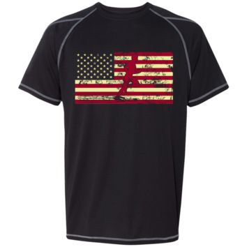 Male Jogger Silhouette On Flag Champion Athletic Dri-Fit T Shirt