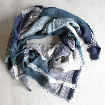 oversize plaid blanket scarf - blue