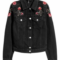 Denim jacket - Black/Roses - Ladies | H&M GB