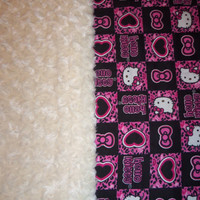 Hello Kitty and Cream Swirl Minky Baby Blanket