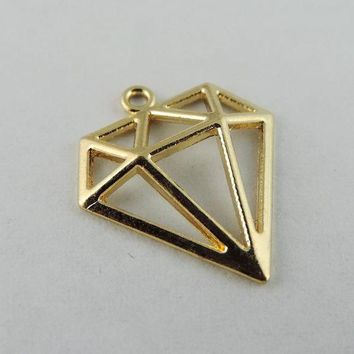 DCCKFV3 40pcs/pack Rose Gold Color Hollow Triangle Alloy Charms Necklace Pendant  Women Charms jewelry findings Handmade Crafts 38930