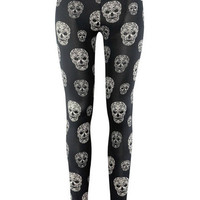 Black Skull Print Leggings