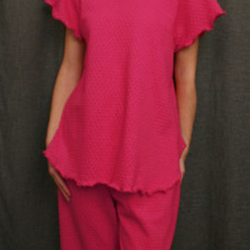 Hot Pink Short Sleeve Top & Palazzos Cotton Dot, Made In The USA   Simple Pleasures, Inc.