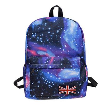 fshion lady Oxford printing backpack Galaxy Stars Universe Space School Book Campus student Backpack British flag bag