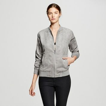 Women's Quilted Bomber Jacket Gray - K by Kersh
