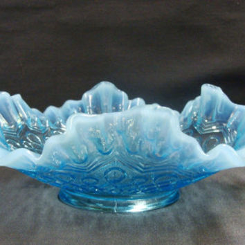 Jefferson Glass Many Loops Blue Opalescent Ruffled Bowl