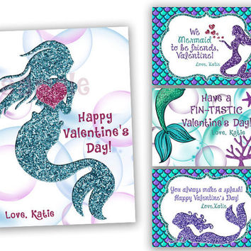 Mermaid Valentines Cards - Girl Classroom Valentines - Blue Glitter Mermaids Valentines Day Cards - Girl Valentines - Under The Sea - Ocean