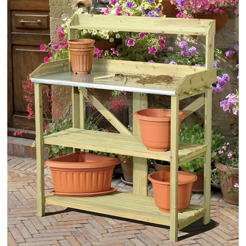 Wood Potting Bench with Metal Table Top with Garden Tool Storage Pegs