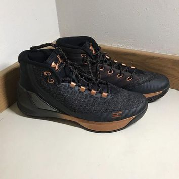 LMFON Under Armour UA Stephen Curry 3 Copper/Black Mens Basketball NEW Size 10.5