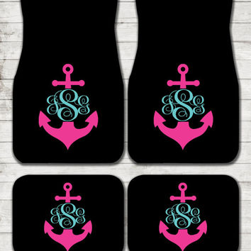 Car Mats Anchor Personalized Custom Car Mats Monogrammed Gifts Cute Car Accessories For Women Car Mat Monogram Gift Ideas Sweet 16 Car Decor