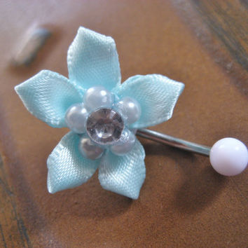 Flower Belly Button Ring Mint Green Rose Pearl Navel Jewelry Piercing Stud Pastel Turquoise Bar Barbell