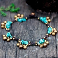 Turquoise Bell Group Anklet by brasslady on Etsy