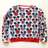 ON SALE - Disney Mickey Mouse Crewneck Sweatshirt - Reversible Mickey Mouse Crewneck - Fourth of July Clothing - Mickey Mouse Reversible