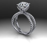AMORA Gem Ultra H&A Cushion Cut Engagement Ring 2.33 CTW