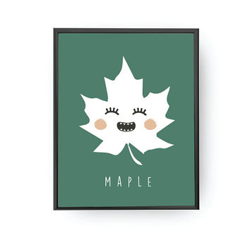 Maple Leaf Letters, Leaf Print, Lettering Poster, Nursery Decor, Children's Learning, Nursery Art, Kids Print, Kids Education, Classroom Art