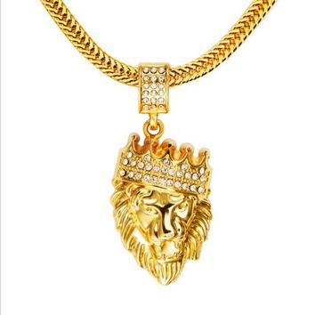 ONETOW Winter new 18K  gold diamond crown lion head hip hop pendant necklace