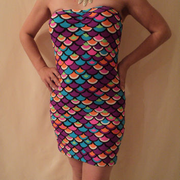 MJCREATION Mermaid mini dress Fish Scale multicolor sleeveless  all size made to order