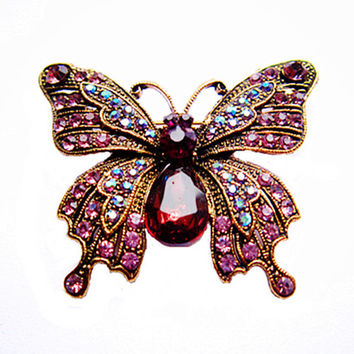 "2"" Vintage Butterfly Brooch Antique Gold Tone Lilac Rhinestone Crystal Diamante Jewelry Gift Pin for Mom"