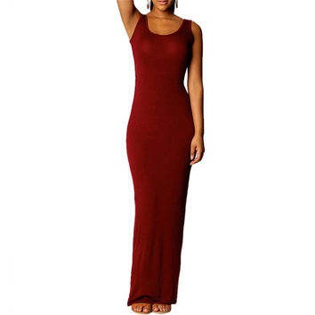 Women's Sexy Red Wine Sleeveless Summer Scoop Neck Bodycon Party Long Maxi Dress