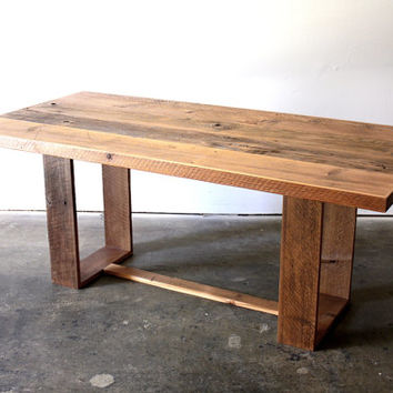 Reclaimed Wood Dining Table  Modern Industrial Desk  Loft Furniture  Rustic  Minimal Conference Table