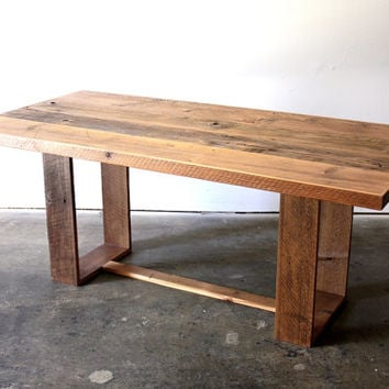 Reclaimed Wood Dining Table- Modern Industrial Desk- Loft Furniture- Rustic Minimal Conference Table- Barn Wood Desk