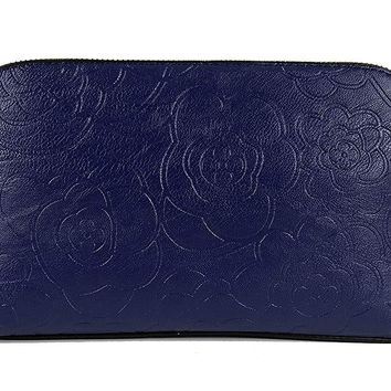 QueenGlobal Embossing Flowers PU Leather Messenger Bags for Women Vintage Clutch Purse